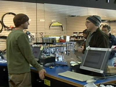 Shoppers inquire about a product at The Spin Cycle in Cary.