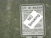 Raleigh to reconsider putting 'No Smoking' signs in parks