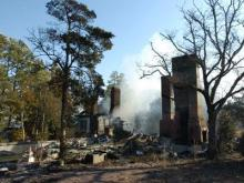 The Bird Song building, part of the Overhills area of Fort Bragg that was formerly owned by the Rockefeller family, burned down in the early morning hours of Feb. 4, 2009. (Submitted by Dawn Pandoliano)