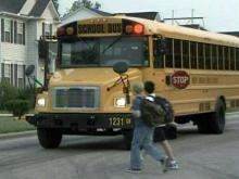 Wake County students catch the school bus.