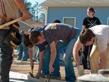 More than 100 youth helped on the first day of construction of a Habitat for Humanity house in east Durham on Saturday, Feb. 7, 2009. It will be the home of Ann McRae, a employee of Duke Medical Center, and her 10-year-old daughter and 17-year-old son.