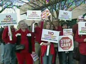 "Homeowners from the outskirts of Cary held a ""Cary Tea Party"" rally against forced annexation on Feb. 12, 2009."