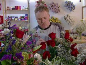 Business has picked up recently at Fallon's flower shop in Raleigh.