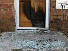 On Feb. 6, 2009 a fire was set at the front door of this home on Brentwood Drive in Dudley. The damage was still evident a week later.