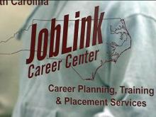 A sign outside of the JobLink Career Center.