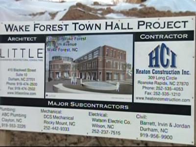 Construction of the new Wake Forest Town Hall began last summer and is expected to be completed this fall.