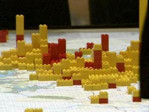 Lego blocks represent job and population growth as groups at Reality Check 2009 try to develop strategies for dealing with growth in the Triangle.