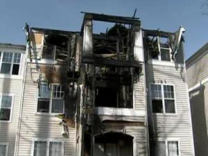 Emergency crews responded to a fire Monday morning at this apartment complex on Thornton Commons Drive in Raleigh.