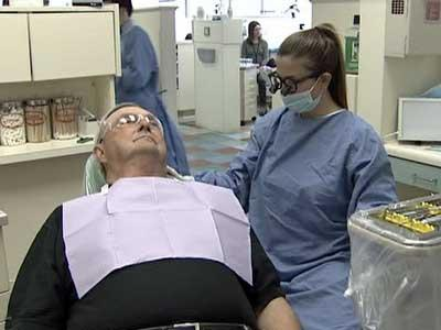Thomas Killeen gets his teeth cared for at the University of North Carolina at Chapel Hill School of Dentistry.