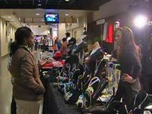 A patron speaks with a vendor at the CIAA tournament on Feb. 26, 2009 in Charlotte.