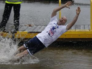 Jumpers dove into the 49 degree water to raise money for the Special Olympics.