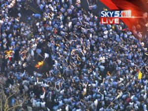 Fans light up one of the traditional bonfires that mark a UNC win over Duke.