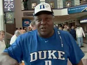 Duke fan attends the second round of the NCAA tournament in Greensboro on March 21, 2009.