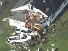 Sky 5 video of Bladen County wind damage