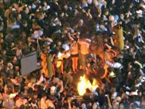 Tar Heel fans celebrate on Franklin Street in a WRAL file photo.