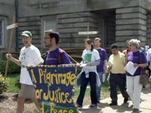 Activists for immigrants' rights marched at the state Capitol on April 10, 2009.