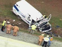 Sky 5: Ambulance involved in Johnston wreck