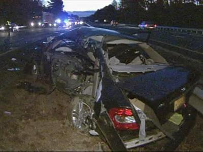 One of the cars that crashed on I-85 in Durham County Thursday morning.