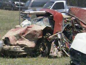 This is what remains of the red Honda Prelude that was struck by Chrysler Sebring convertible at 3:09 p.m. Sunday, April 18, 2009, on N.C. Highway 214, between Lake Waccamaw and Hallsboro.