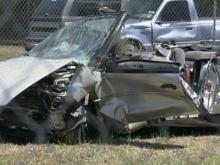 This is what remains of the Chrysler Sebring convertible that troopers said hit a red Honda Prelude at 3:09 p.m. Sunday, April 18, 2009, on N.C. Highway 214, between Lake Waccamaw and Hallsboro.