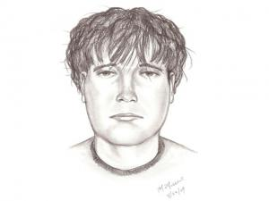 A composite sketch of a suspect wanted in connection with a report of sexual assault at Apex Community Park.
