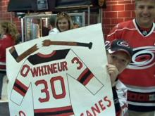 Carolina Hurricanes fans prepare for Game 6 against the New Jersey Devils on April 26, 2009.