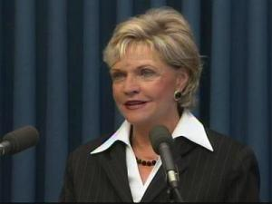 Gov. Bev Perdue announces at a April 28, 2009, news conference that she has cut the pay of all state employees and teachers by half a percent to make up for a $3 billion budget shortfall the state now expects to see this year.