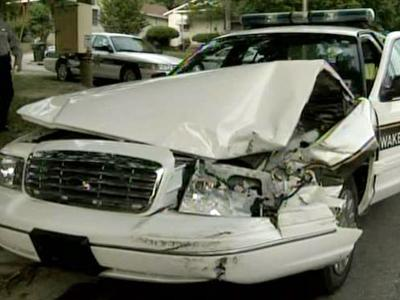 A Wake County Sheriff's Deputy vehicle was damaged during a high-speed chase on April 30, 2009.