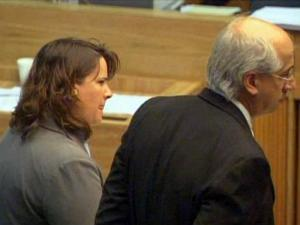 Former Johnston County prosecutor Cyndi Jaeger appears in court with her attorney, David Freedman, on May 4, 2009, to face charges in a ticket-fixing case.