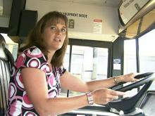 Bus driver Julie Lamb escorted about two dozen students to safety on May 4, 2009, after her bus caught fire.