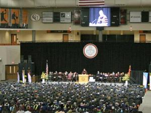 Representative Bob Etheridge delivered the commencement speech for the 123rd spring graduation ceremony at Campbell University.