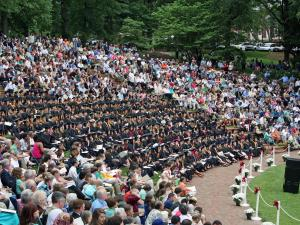 Approximately 2,900 people, including 450 graduates,filled McIver Amphitheater at Meredith College's graduation on Sunday, May 10, 2009. (Photo courtesy of Meredith College)