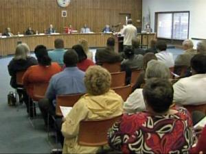 Residents of Spring Lake came out to a town meeting Monday, May 11, 2009, to ask about a scandal involving the police department.