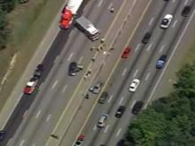 Sky 5 flies over I-40 West after motorcycle wreck
