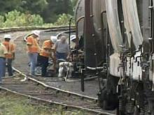 Derailed train car spills lye