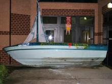 About 30 students moved this sailboat at Leesville Road High School Friday, May 28, 2009. When they left, a pickup carrying approximately nine students overturned, critically injuring Ian Anthony Bunn, 17, (Photo by the Raleigh Police Department Crash Reconstruction Unit)