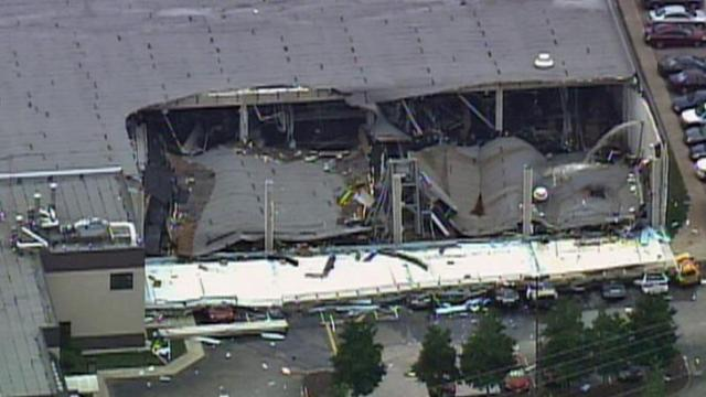The roof of a Garner food plant collapsed Tuesday morning, June 9, 2009. The 425,454-square-foot ConAgra Foods plant is at 4851 Jones Sausage Road.
