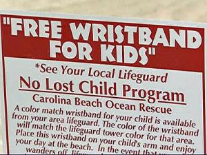 Each lifeguard stand on the beach is painted a different color, and parents and children can match their wristbands with the color of the nearest stand.