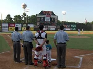 ConAgra workers were given special recognition during Wednesday's Carolina Mudcats game.