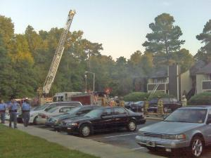 Crews battled an apartment fire at Woods of North Bend on Shanda Drive on June 25, 2009.