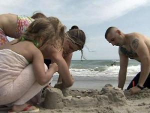 Katie Lightfoot brings her family to Fort Macon to build forts in the sand.