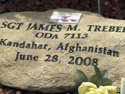 A monument in honor of Sgt. James Treber was placed at the Special Forces Rock Garden at Fort Bragg on July 15, 2009.