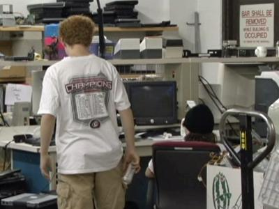A customer shops at the Purple Elephant Computer Factory for KIDS in Raleigh.