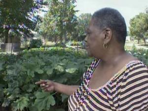 Lynette Fisher shows off her community garden in Fayetteville.