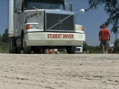 Students practice driving at the Carolina Trucking Academy.