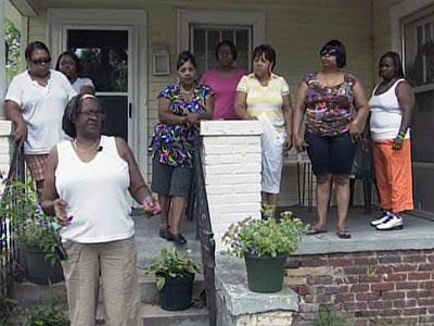 A handful of QVC employees gathered at the home of a fellow former employee in Rocky Mount on Aug. 20, 2009 to discuss the company's recent terminations.