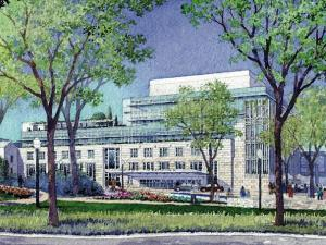 An artist's rendering depicts the proposed seven-story Duke Cancer Center.