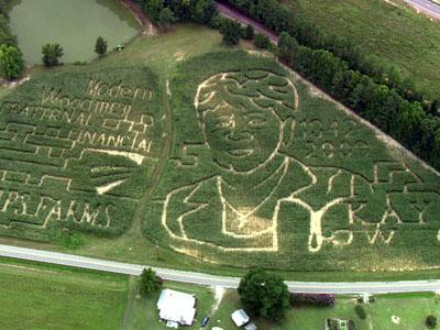 An overhead view of the corn maze at Phillips Farm, 6701 Good Hope Church Road in Cary.
