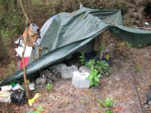 Law enforcement officers found a makeshift campsite they said was used by people growing marijuana in Sampson County.