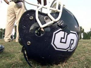 A Southeast Raleigh High School football helmet.